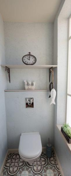 שירותי אורחים בצבע אפור מעוצבים בסגנון כפרי, עיצוב שרי בר-נע גבעון light-design
