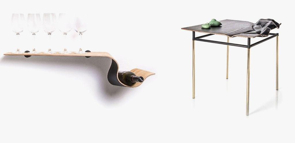 שולחן ומדף בטכנולוגיה של כבישת עץ