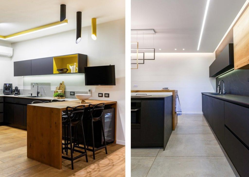 תאורה מתחת לקלאפות מאפשרת התמצאות במטבח בלי להאיר ולהעיר את כל הבית עיצוב פנים ותאורה: שרי בר-נע גבעון. צלם: יואל אליווה