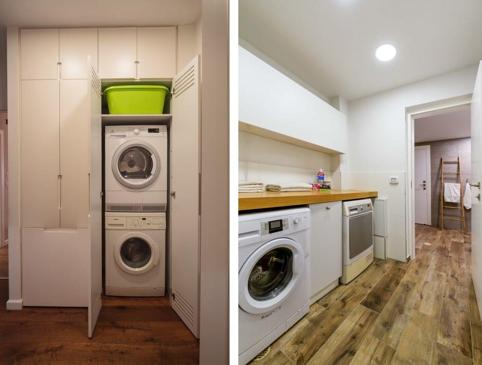 שעוני שבת - גם את מכונת הכביסה והמייבש ניתן להפעיל בלילה או בשבת עיצוב פנים ותאורה: שרי בר-נע גבעון. צלמים: יואל אליווה (ימין), איל גבעון (שמאל)