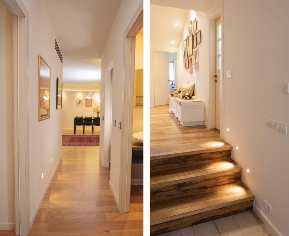 תאורה במסדרון או במדרגות מאפשרת התמצאות בלילה  עיצוב פנים ותאורה: שרי בר-נע גבעון. צלם: איל גבעון
