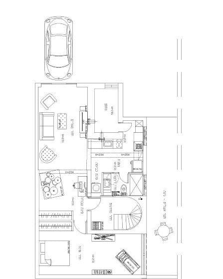 התוכנית החדשה לדירת החניה. עיצוב פנים ותאורה - שרי בר-נע גבעון