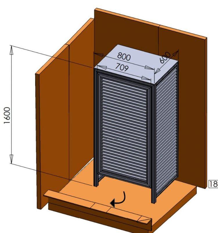מידות לארון אחסון חיצוני של מנוע שאברב