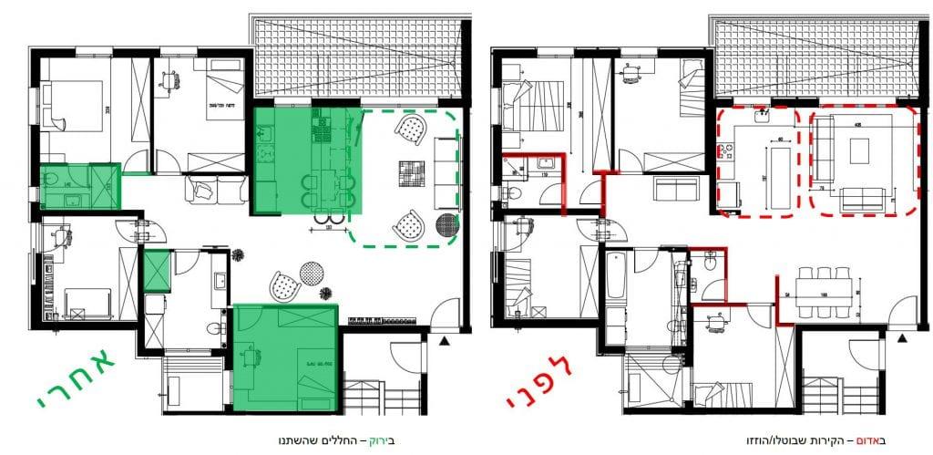 דירת 5 חדרים בראש העין - תכנון לפני ואחרי